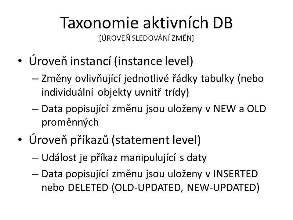 Taxonomie aktivních DB [ÚROVEŇ SLEDOVÁNÍ ZMĚN] Úroveň instancí (instance level) – Změny ovlivňující jednotlivé řádky tabulky (nebo individuální objekty uvnitř trídy) – Data popisující změnu jsou uloženy v NEW a OLD proměnných Úroveň příkazů (statement level) – Událost je příkaz manipulující s daty – Data popisující změnu jsou uloženy v INSERTED nebo DELETED (OLD-UPDATED, NEW-UPDATED)