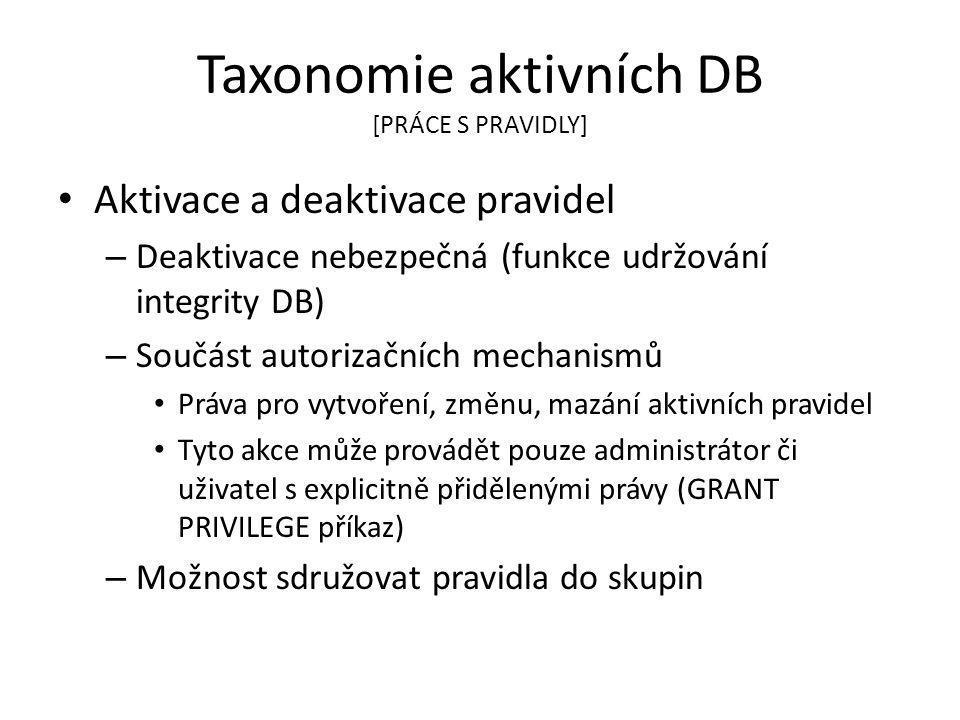 Taxonomie aktivních DB [PRÁCE S PRAVIDLY] Aktivace a deaktivace pravidel – Deaktivace nebezpečná (funkce udržování integrity DB) – Součást autorizační