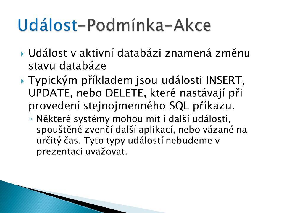  Událost v aktivní databázi znamená změnu stavu databáze  Typickým příkladem jsou události INSERT, UPDATE, nebo DELETE, které nastávají při provedení stejnojmenného SQL příkazu.