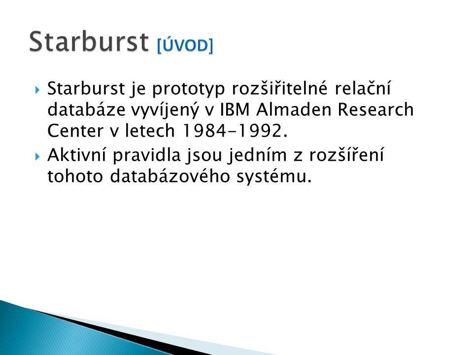  Starburst je prototyp rozšiřitelné relační databáze vyvíjený v IBM Almaden Research Center v letech 1984-1992.