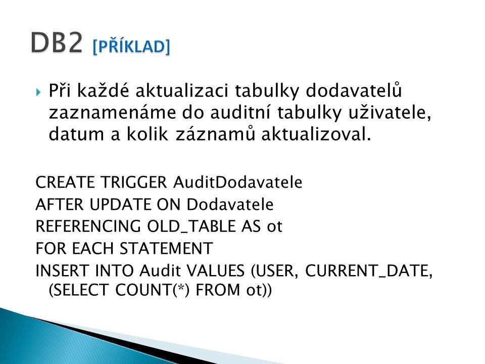  Při každé aktualizaci tabulky dodavatelů zaznamenáme do auditní tabulky uživatele, datum a kolik záznamů aktualizoval.