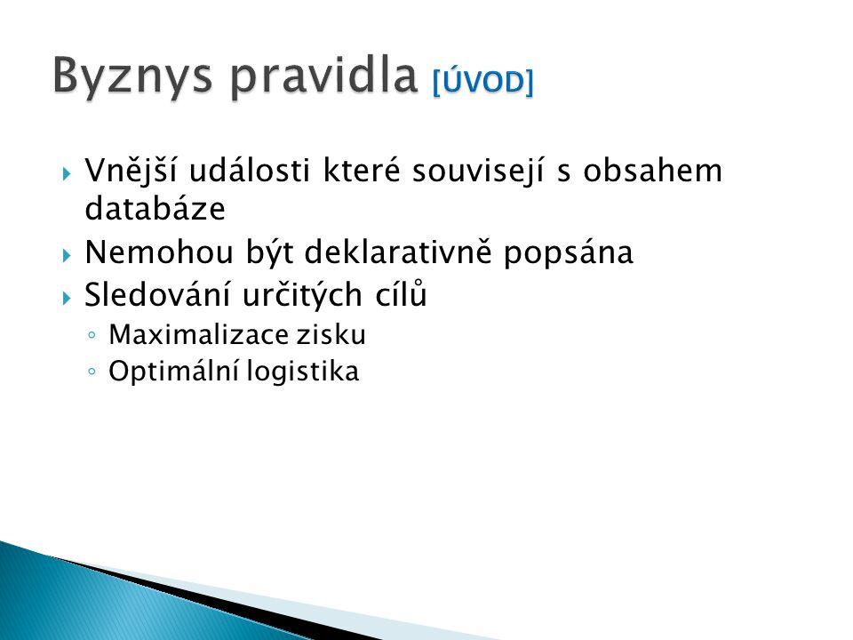  Vnější události které souvisejí s obsahem databáze  Nemohou být deklarativně popsána  Sledování určitých cílů ◦ Maximalizace zisku ◦ Optimální logistika
