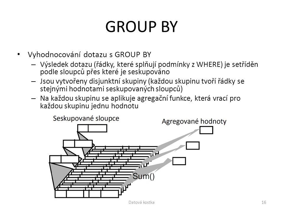 GROUP BY Vyhodnocování dotazu s GROUP BY – Výsledek dotazu (řádky, které splňují podmínky z WHERE) je setříděn podle sloupců přes které je seskupováno