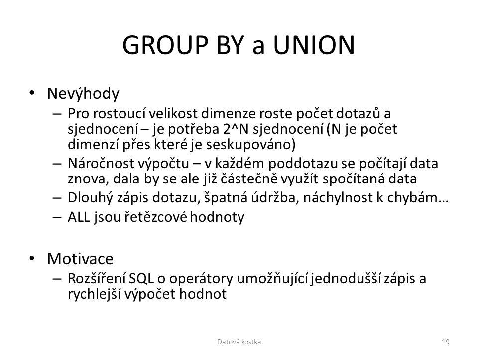 GROUP BY a UNION Nevýhody – Pro rostoucí velikost dimenze roste počet dotazů a sjednocení – je potřeba 2^N sjednocení (N je počet dimenzí přes které j