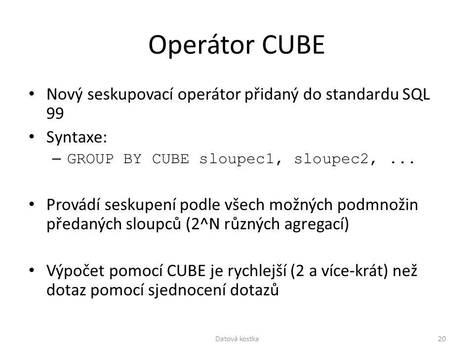 Operátor CUBE Nový seskupovací operátor přidaný do standardu SQL 99 Syntaxe: – GROUP BY CUBE sloupec1, sloupec2,... Provádí seskupení podle všech možn
