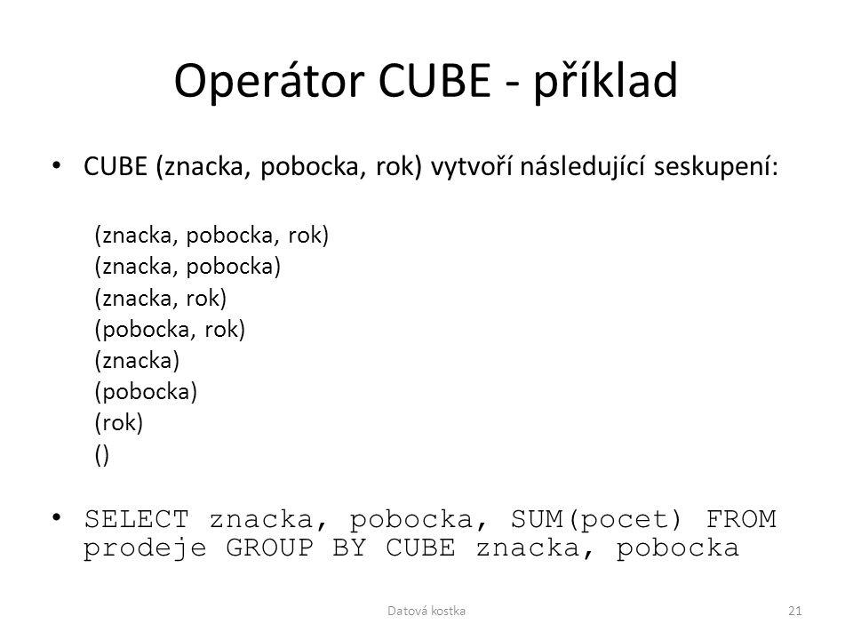 Operátor CUBE - příklad CUBE (znacka, pobocka, rok) vytvoří následující seskupení: (znacka, pobocka, rok) (znacka, pobocka) (znacka, rok) (pobocka, ro