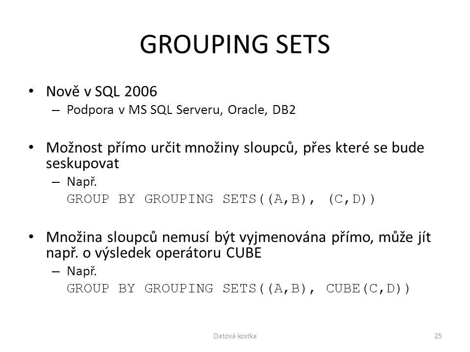 GROUPING SETS Nově v SQL 2006 – Podpora v MS SQL Serveru, Oracle, DB2 Možnost přímo určit množiny sloupců, přes které se bude seskupovat – Např. GROUP