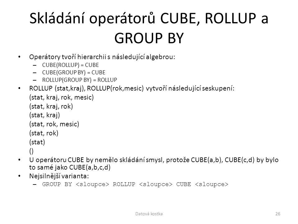 Skládání operátorů CUBE, ROLLUP a GROUP BY Operátory tvoří hierarchii s následující algebrou: – CUBE(ROLLUP) = CUBE – CUBE(GROUP BY) = CUBE – ROLLUP(G