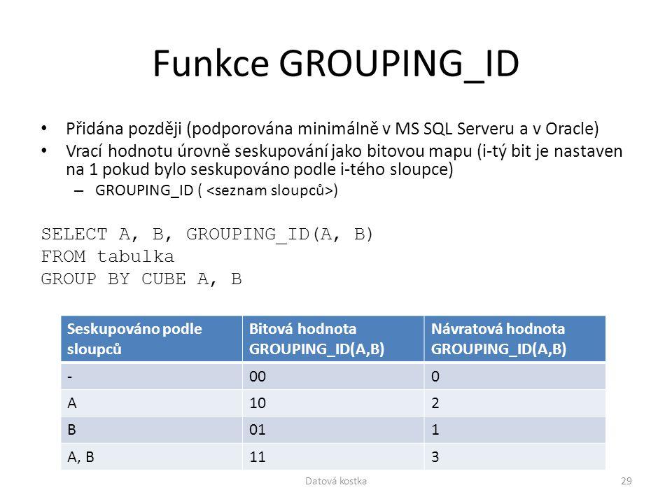 Funkce GROUPING_ID Přidána později (podporována minimálně v MS SQL Serveru a v Oracle) Vrací hodnotu úrovně seskupování jako bitovou mapu (i-tý bit je