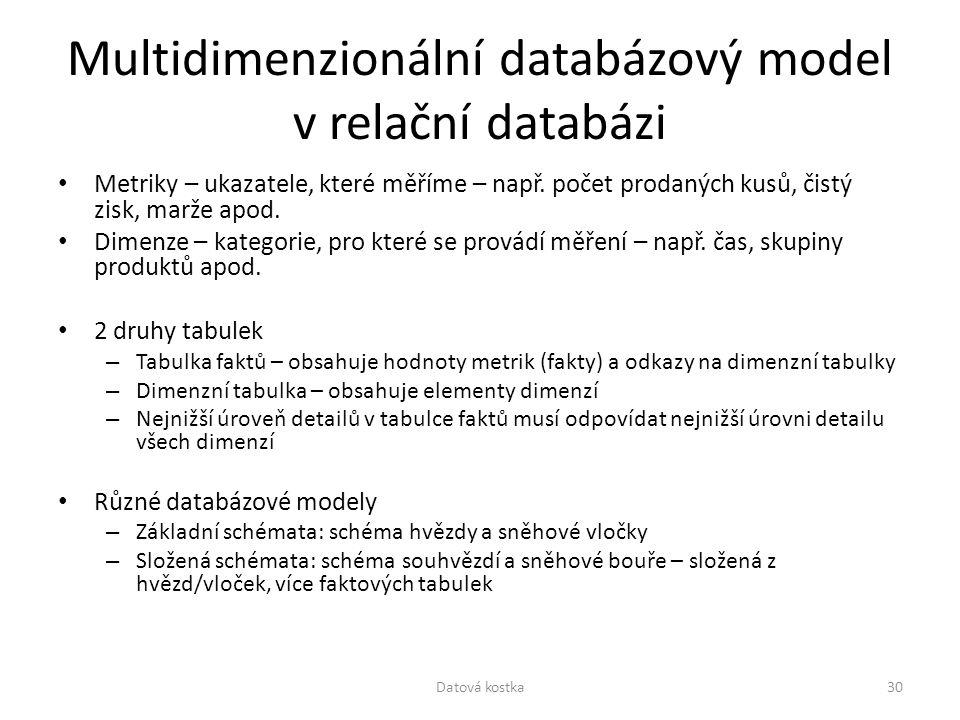 Multidimenzionální databázový model v relační databázi Metriky – ukazatele, které měříme – např. počet prodaných kusů, čistý zisk, marže apod. Dimenze