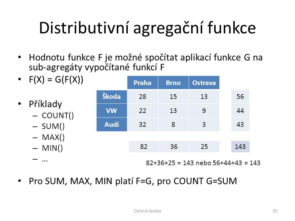 Distributivní agregační funkce Hodnotu funkce F je možné spočítat aplikací funkce G na sub-agregáty vypočítané funkcí F F(X) = G(F(X)) Příklady – COUN