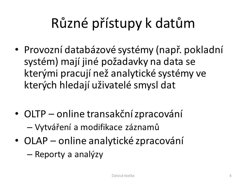 Různé přístupy k datům Provozní databázové systémy (např. pokladní systém) mají jiné požadavky na data se kterými pracují než analytické systémy ve kt