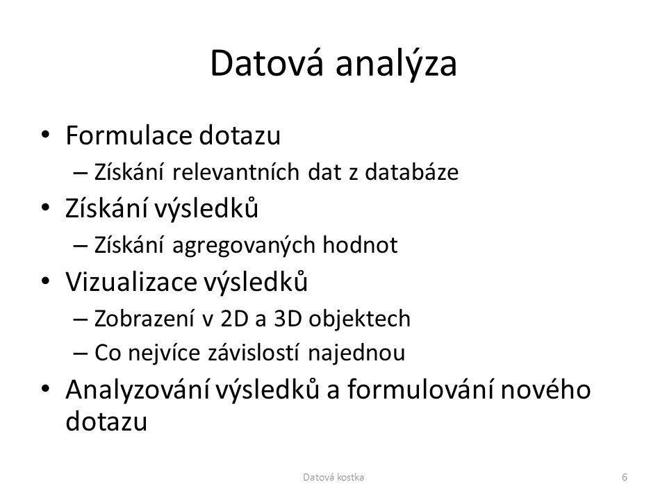 Datová analýza Formulace dotazu – Získání relevantních dat z databáze Získání výsledků – Získání agregovaných hodnot Vizualizace výsledků – Zobrazení