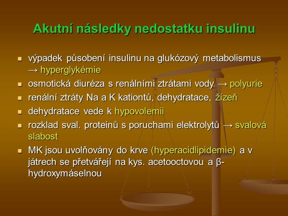 Akutní následky nedostatku insulinu výpadek působení insulinu na glukózový metabolismus → hyperglykémie výpadek působení insulinu na glukózový metabol