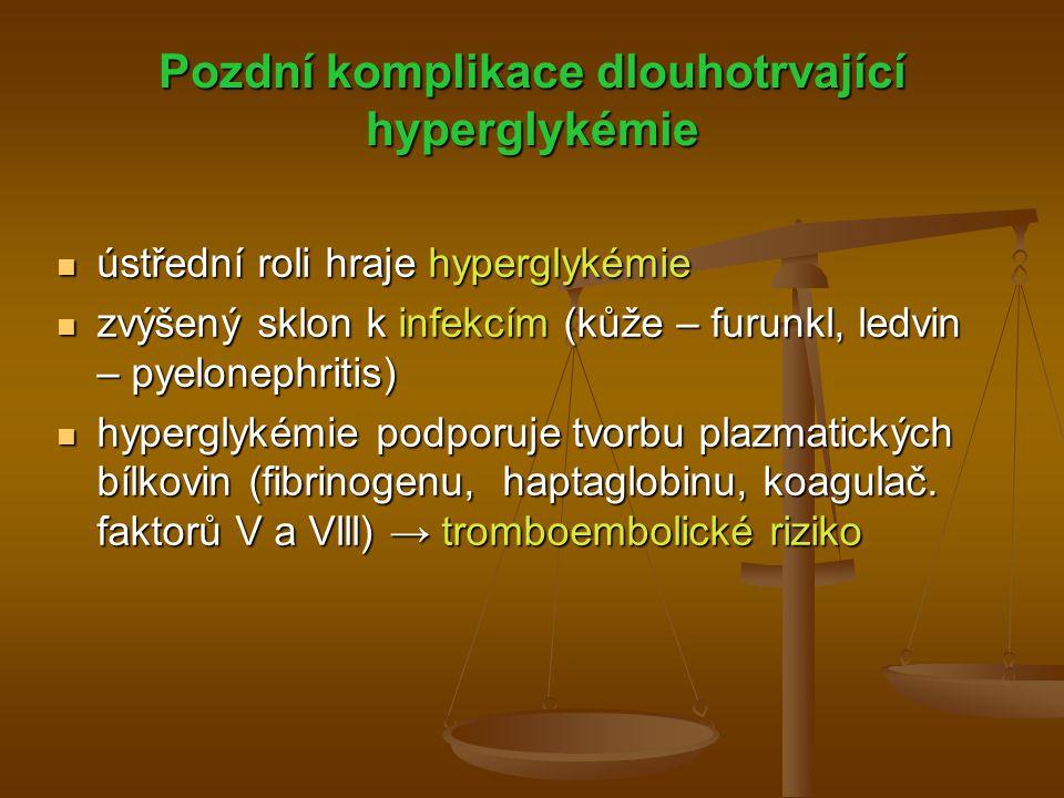 Pozdní komplikace dlouhotrvající hyperglykémie ústřední roli hraje hyperglykémie ústřední roli hraje hyperglykémie zvýšený sklon k infekcím (kůže – fu