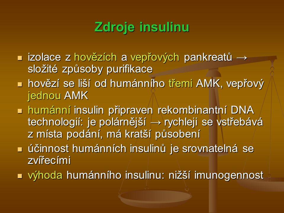 Zdroje insulinu izolace z hovězích a vepřových pankreatů → složité způsoby purifikace izolace z hovězích a vepřových pankreatů → složité způsoby purif
