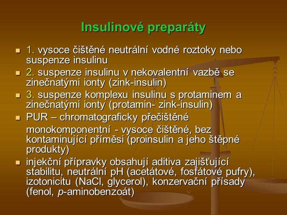 Insulinové preparáty 1. vysoce čištěné neutrální vodné roztoky nebo suspenze insulinu 1. vysoce čištěné neutrální vodné roztoky nebo suspenze insulinu