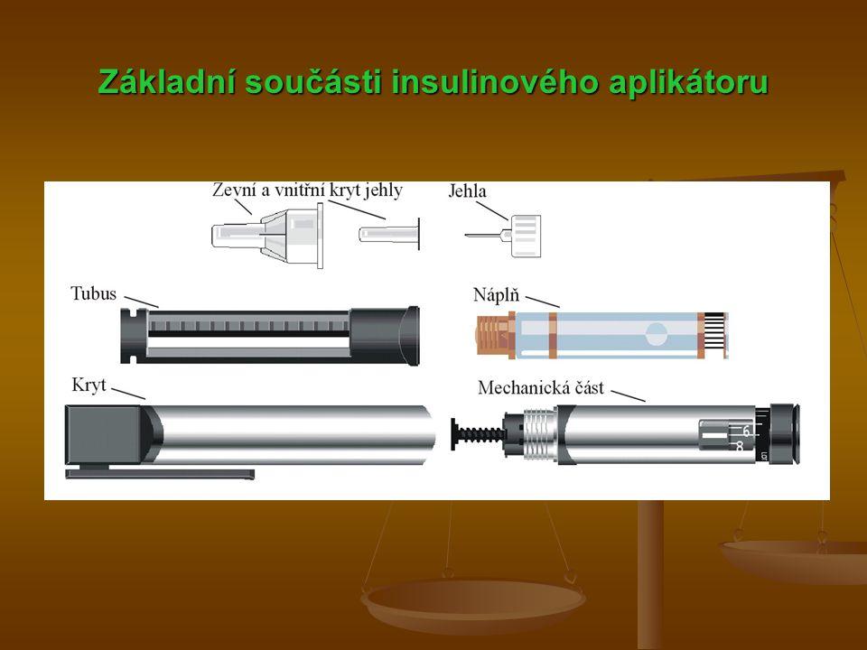 Základní součásti insulinového aplikátoru