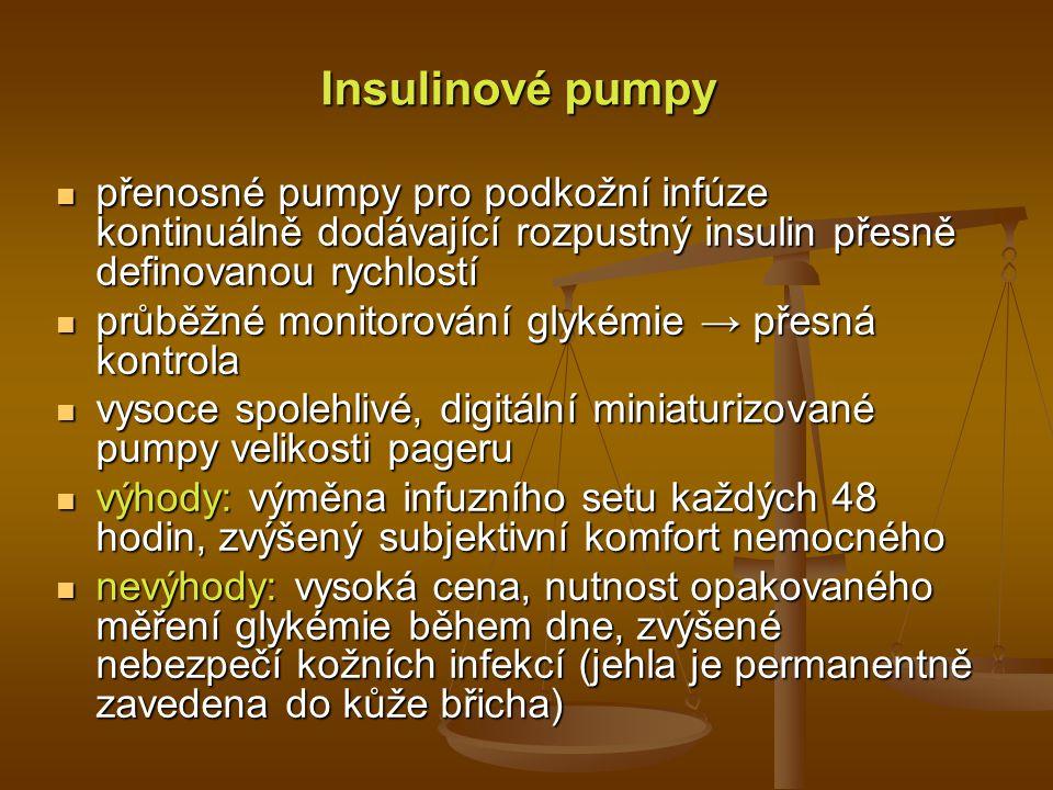 Insulinové pumpy přenosné pumpy pro podkožní infúze kontinuálně dodávající rozpustný insulin přesně definovanou rychlostí přenosné pumpy pro podkožní