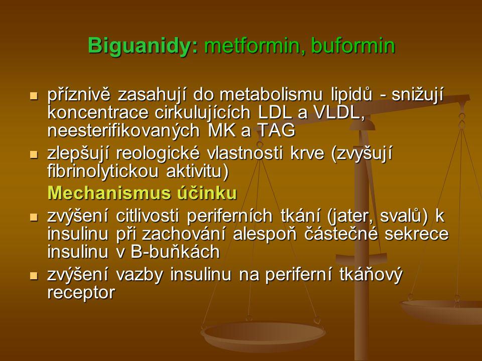 Biguanidy: metformin, buformin příznivě zasahují do metabolismu lipidů - snižují koncentrace cirkulujících LDL a VLDL, neesterifikovaných MK a TAG pří