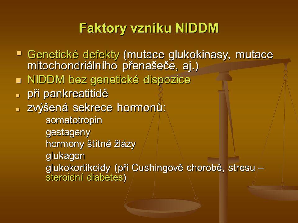 Porovnání diabetu Typu 1 a Typu 2 Věk v čase vzniku Výživový stav v čase vzniku Prevalence Genetická predispozice Defekt nebo deficit Typ 1 (Insulin-dependentnídiabetes) Typ 2 (Non-insulin- dependentní diabetes) Obvykle během dětství nebo puberty Často podvyživený 10 až 20 procent diagnostikovaných diabetiků Mírná Léze B buněk, eliminující produkci insulinu Mnohdy ve věku nad 35 let Obvykle přítomná obezita 80 až 90 procent diagnostikovaných diabetiků Velmi výrazná Neschopnost B buněk produkovat přiměřené množství insulinu; insulinová rezistence; jiné poruchy