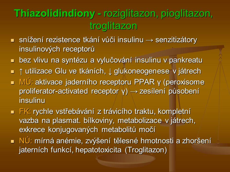 Thiazolidindiony - roziglitazon, pioglitazon, troglitazon snížení rezistence tkání vůči insulinu → senzitizátory insulinových receptorů snížení rezist