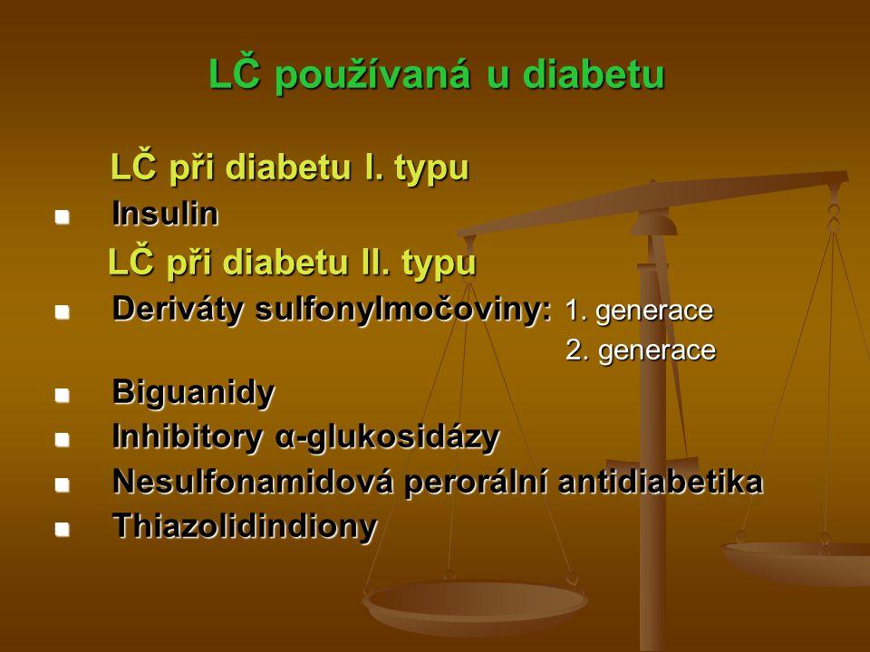 Monitorování terapie stanovení glukózy v krvi stanovení glukózy v krvi opakovaně (i několikrát denně u nemocných léčených insulinem) opakovaně (i několikrát denně u nemocných léčených insulinem) miniaturizované glukometry na principu fotometrie miniaturizované glukometry na principu fotometrie pro přesné měření stačí kapka krve získané z prstu → nanesení na testovací proužek umístěný v přístroji → výsledek zobrazen do 1 min na display přístroje pro přesné měření stačí kapka krve získané z prstu → nanesení na testovací proužek umístěný v přístroji → výsledek zobrazen do 1 min na display přístroje