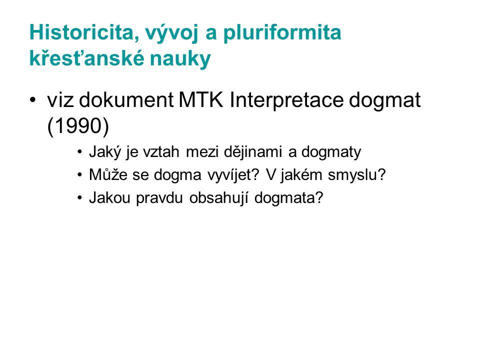 Historicita, vývoj a pluriformita křesťanské nauky viz dokument MTK Interpretace dogmat (1990) Jaký je vztah mezi dějinami a dogmaty Může se dogma vyv