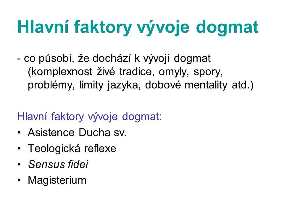 Hlavní faktory vývoje dogmat - co působí, že dochází k vývoji dogmat (komplexnost živé tradice, omyly, spory, problémy, limity jazyka, dobové mentalit