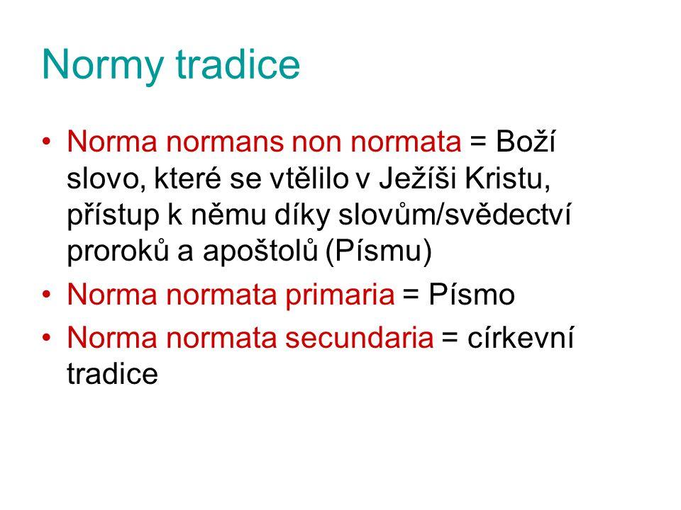 Normy tradice Norma normans non normata = Boží slovo, které se vtělilo v Ježíši Kristu, přístup k němu díky slovům/svědectví proroků a apoštolů (Písmu