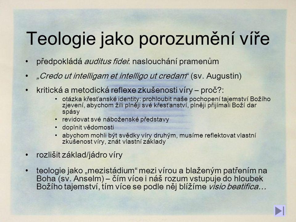 """Teologie v NZ a dále Nový zákon, podobně jako apoštolští otcové [1] [1] termín teologie vůbec nepoužívají, u apologetů najdeme jen vzácně, ve významu """"mýty pohanů , jejichž opakem je křesťanství, které je """"pravou filozofií .[2][2] [1][1] """"apoštolští otcové : křesťanští autoři, kteří žili v době apoštolů: Klement Římský, Ignác z Antiochie, Polykarp ad.."""
