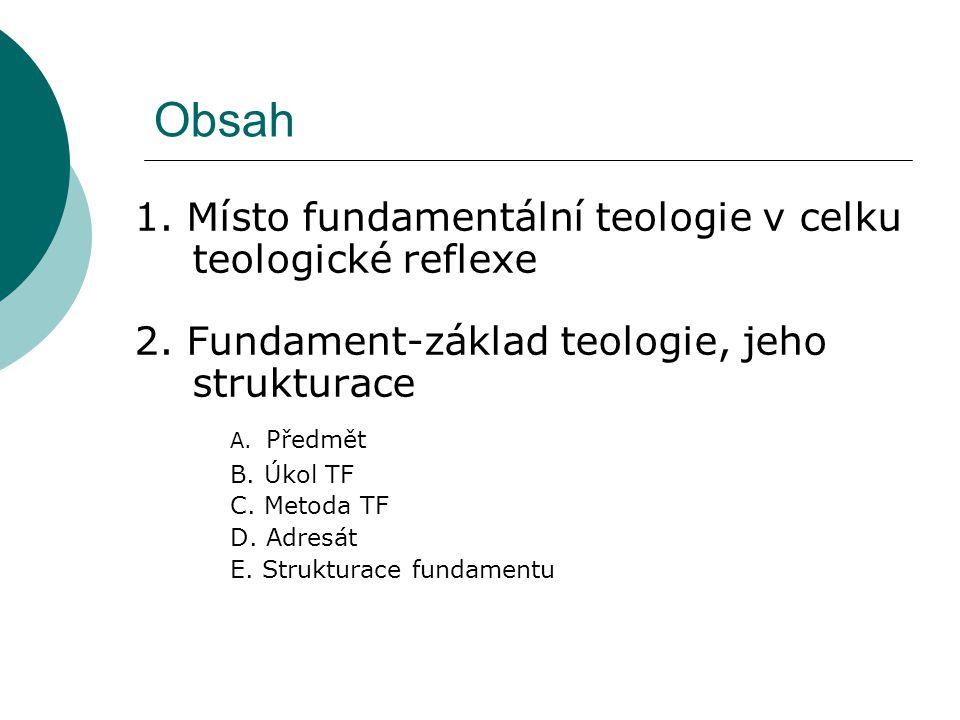 Obsah 1. Místo fundamentální teologie v celku teologické reflexe 2. Fundament-základ teologie, jeho strukturace A. Předmět B. Úkol TF C. Metoda TF D.