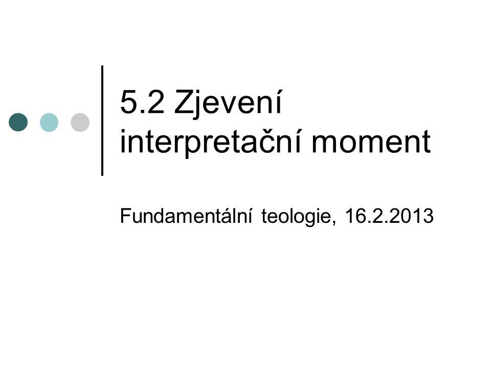 5.2 Zjevení interpretační moment Fundamentální teologie, 16.2.2013
