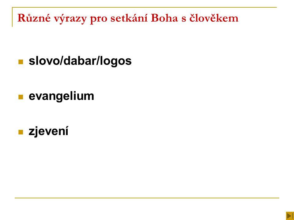 Různé výrazy pro setkání Boha s člověkem slovo/dabar/logos evangelium zjevení