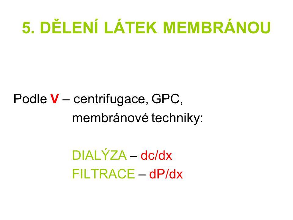 5. DĚLENÍ LÁTEK MEMBRÁNOU Podle V – centrifugace, GPC, membránové techniky: DIALÝZA – dc/dx FILTRACE – dP/dx