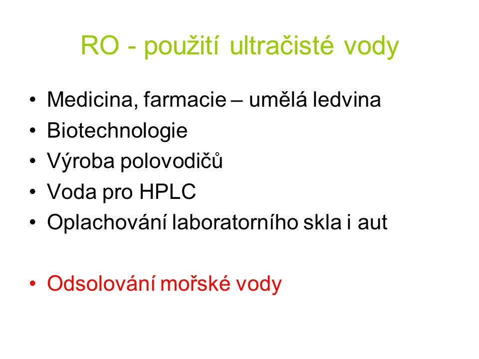 RO - použití ultračisté vody Medicina, farmacie – umělá ledvina Biotechnologie Výroba polovodičů Voda pro HPLC Oplachování laboratorního skla i aut Od