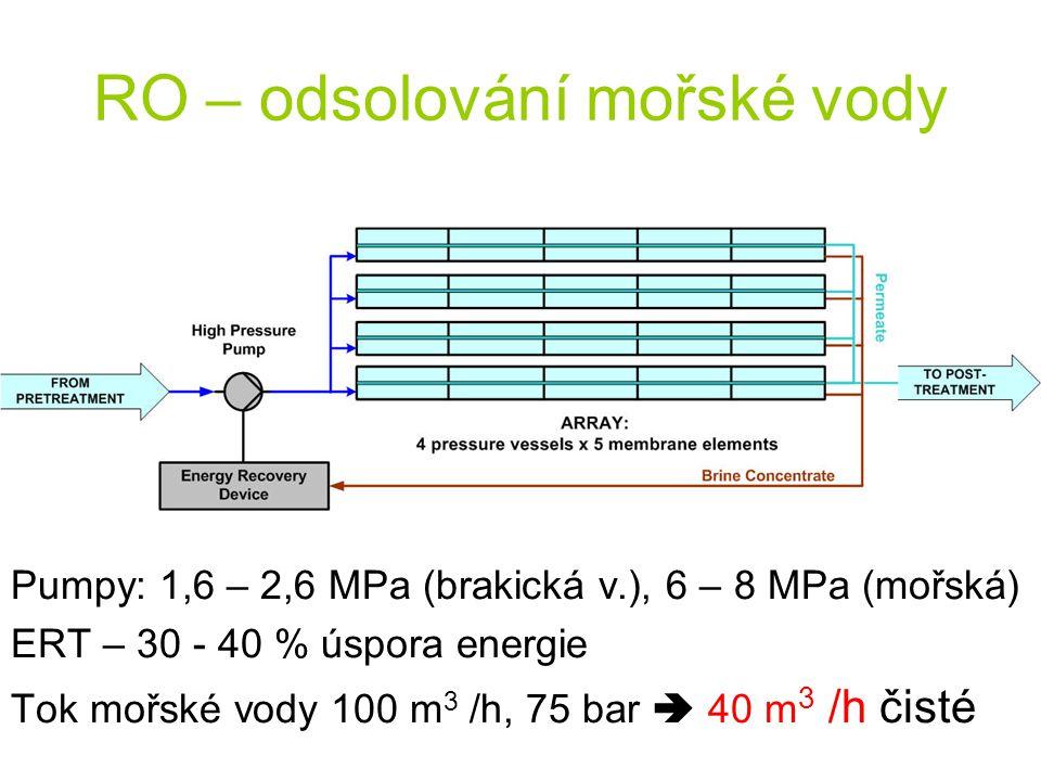 RO – odsolování mořské vody Pumpy: 1,6 – 2,6 MPa (brakická v.), 6 – 8 MPa (mořská) ERT – 30 - 40 % úspora energie Tok mořské vody 100 m 3 /h, 75 bar 