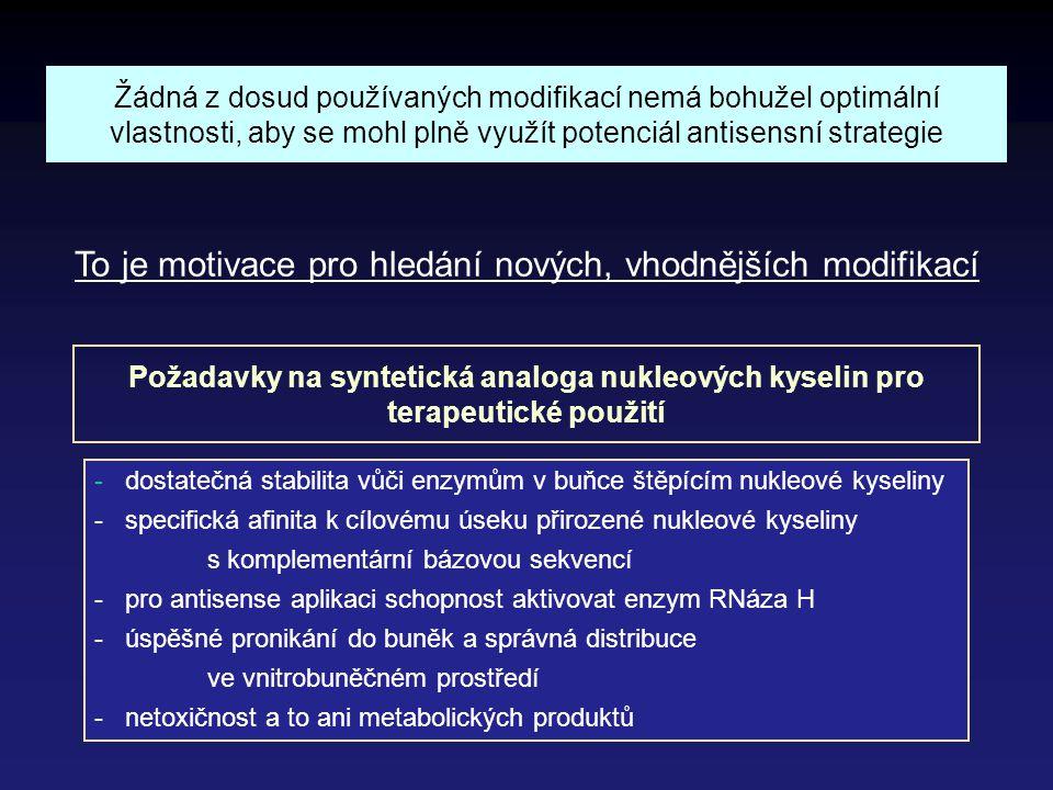 To je motivace pro hledání nových, vhodnějších modifikací - dostatečná stabilita vůči enzymům v buňce štěpícím nukleové kyseliny - specifická afinita