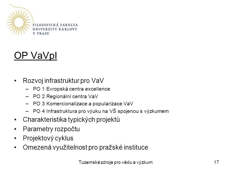 Tuzemské zdroje pro vědu a výzkum OP VaVpI Rozvoj infrastruktur pro VaV –PO 1 Evropská centra excellence –PO 2 Regionální centra VaV –PO 3 Komercionalizace a popularizace VaV –PO 4 Infrastruktura pro výuku na VŠ spojenou s výzkumem Charakteristika typických projektů Parametry rozpočtu Projektový cyklus Omezená využitelnost pro pražské instituce 17