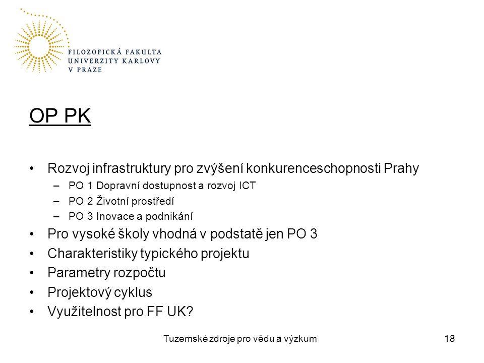 Tuzemské zdroje pro vědu a výzkum OP PK Rozvoj infrastruktury pro zvýšení konkurenceschopnosti Prahy –PO 1 Dopravní dostupnost a rozvoj ICT –PO 2 Životní prostředí –PO 3 Inovace a podnikání Pro vysoké školy vhodná v podstatě jen PO 3 Charakteristiky typického projektu Parametry rozpočtu Projektový cyklus Využitelnost pro FF UK.