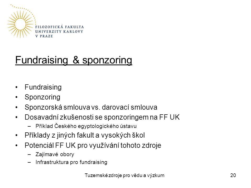 Tuzemské zdroje pro vědu a výzkum Fundraising & sponzoring Fundraising Sponzoring Sponzorská smlouva vs.