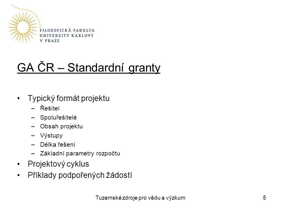 Tuzemské zdroje pro vědu a výzkum GA ČR – Standardní granty Typický formát projektu –Řešitel –Spoluřešitelé –Obsah projektu –Výstupy –Délka řešení –Základní parametry rozpočtu Projektový cyklus Příklady podpořených žádostí 5