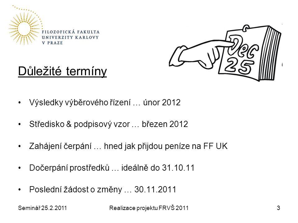 Seminář 25.2.2011Realizace projektu FRVŠ 201124 Hodně zdaru!