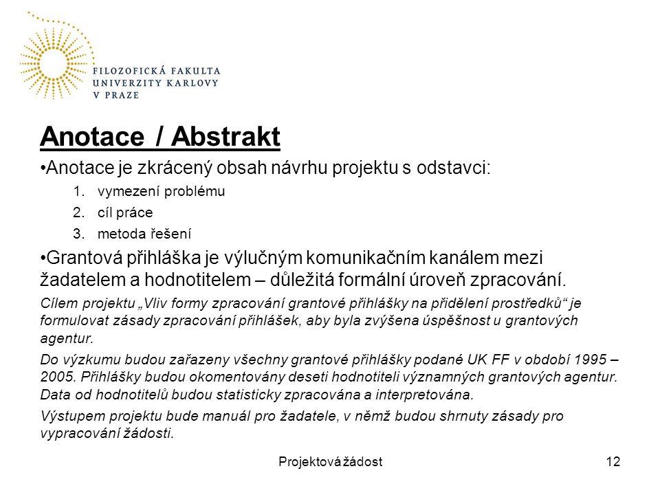 Anotace / Abstrakt Anotace je zkrácený obsah návrhu projektu s odstavci: 1.vymezení problému 2.cíl práce 3.metoda řešení Grantová přihláška je výlučný