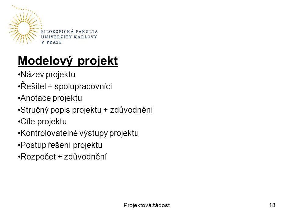Modelový projekt Název projektu Řešitel + spolupracovníci Anotace projektu Stručný popis projektu + zdůvodnění Cíle projektu Kontrolovatelné výstupy p