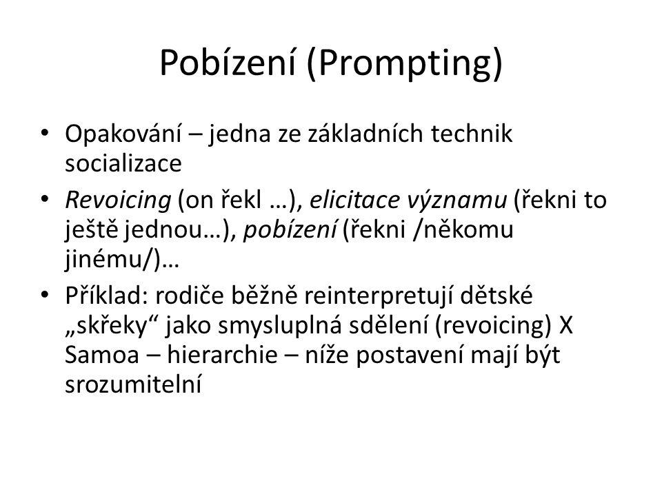 Pobízení (Prompting) Opakování – jedna ze základních technik socializace Revoicing (on řekl …), elicitace významu (řekni to ještě jednou…), pobízení (