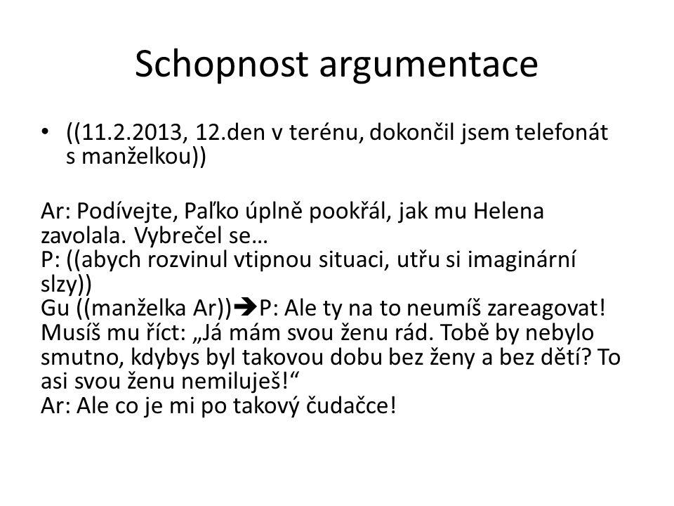 Schopnost argumentace ((11.2.2013, 12.den v terénu, dokončil jsem telefonát s manželkou)) Ar: Podívejte, Paľko úplně pookřál, jak mu Helena zavolala.