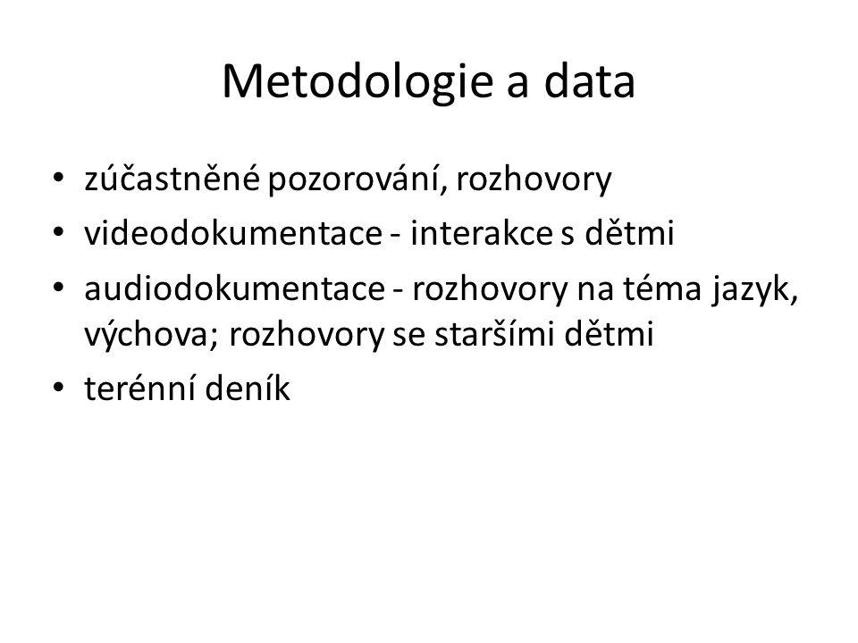 Metodologie a data zúčastněné pozorování, rozhovory videodokumentace - interakce s dětmi audiodokumentace - rozhovory na téma jazyk, výchova; rozhovor