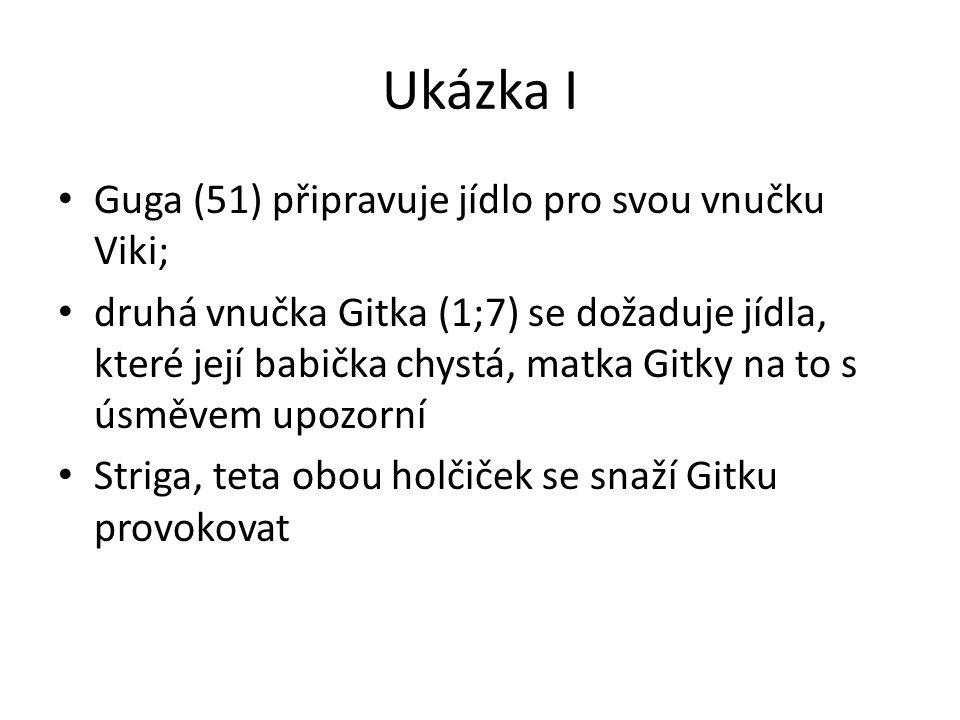 Ukázka I Guga (51) připravuje jídlo pro svou vnučku Viki; druhá vnučka Gitka (1;7) se dožaduje jídla, které její babička chystá, matka Gitky na to s ú