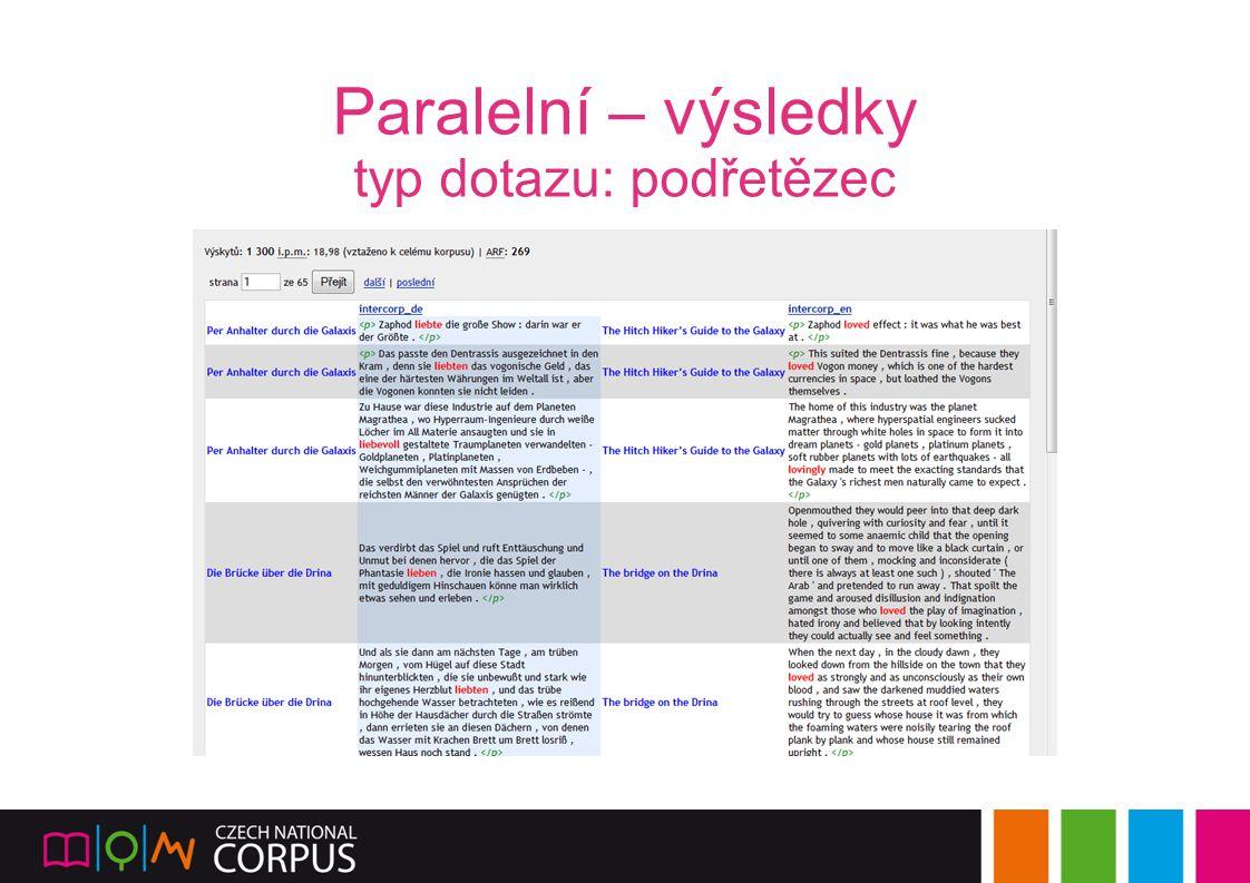 Paralelní – výsledky typ dotazu: podřetězec